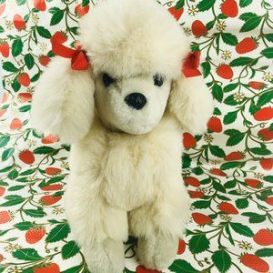 "vintage 14"" white fluffy poodle dog plush red"